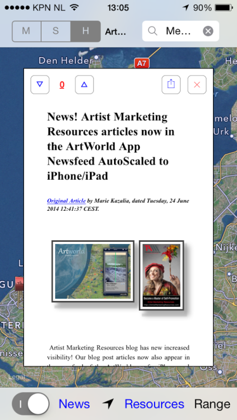 first Artist Marketing Resources blog post article in the ArtWorld app news feed