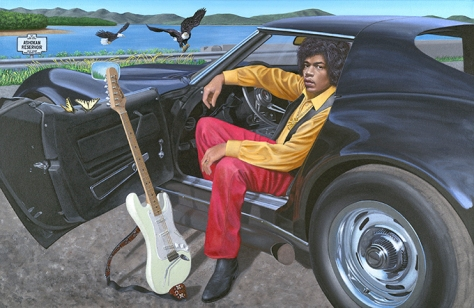 Jimi Hendrix & his 1969 Corvette Stingray, by Chris Osborne, available as Giclee print on canvas in 3 sizes formats and as limited edition poster print