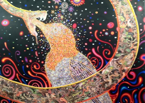 Fred Tomaselli, Penetrators, photo collage, acrylic, resin on wood panel.  James Cohan Gallery