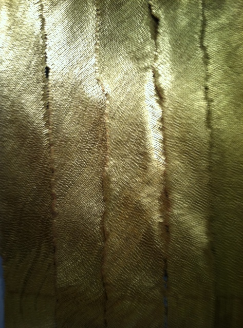 "Olga De Amaral, Arboles(Trees), linen, gesso, acrylic, gold leaf  90.55 x 66.93""  Nohra Haime Gallery"