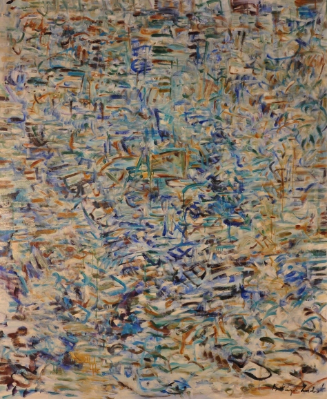 Each Imprisoned Flutter Extends Delicately to the Horizon, Mallarme,Oil on Stretched Canvas, 54 w x 66h, Kathryn Arnold