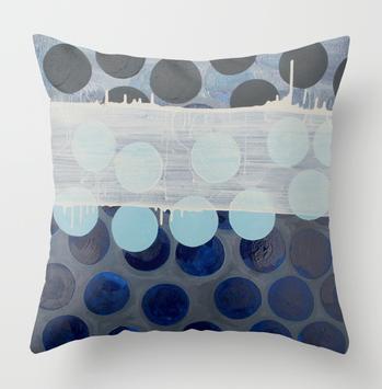 Marie Kazalia's painting Blue Rice Cracker available as a pillow print on Society6.