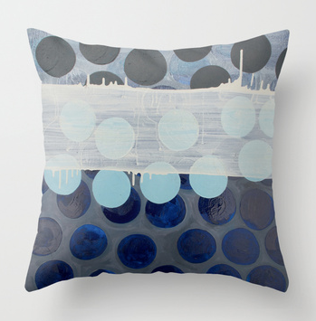 Marie Kazalia's painting Blue Rice Cracker available as a pillow print on Society6.