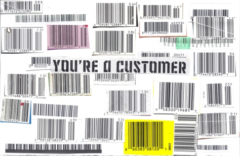 You're A Customer, mixed media collage art, Agent X