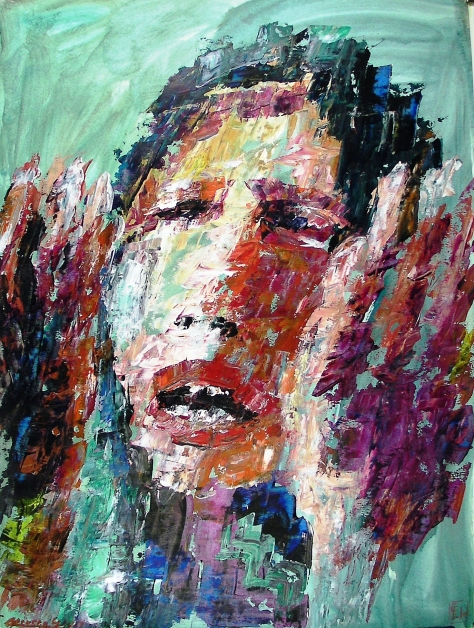 Gabriella Cleuren, Arab Woman, 2011, Acrylic on prepared Steinbach 250g-mg paper, 110 x 73cm (43 x 28 in)