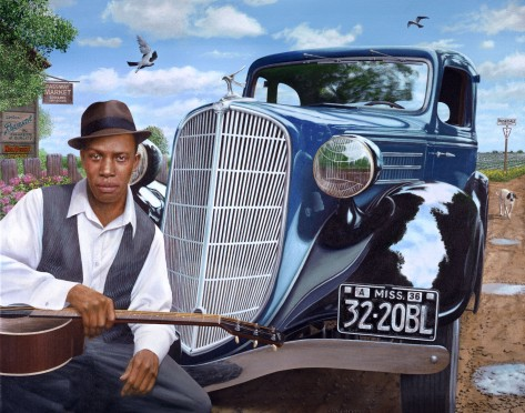 Robert Johnson and the Blue Terraplane painting by Chris Osborne