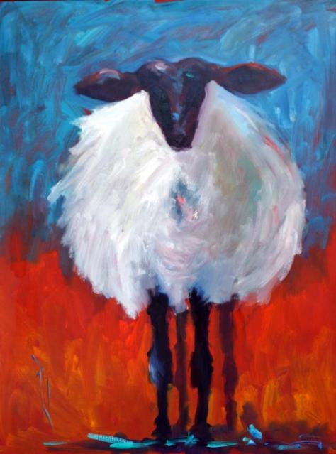 Sheep Portrait, Paula Jones oil painting, SOLD!