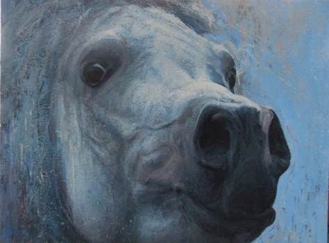 Pale Horse, Encaustic painting by