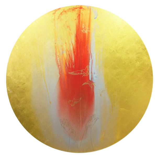 "Let's Become Like Birds, 2013, 48"" diameter, oil with 23k gold, red gold and moon gold on MDF panel."