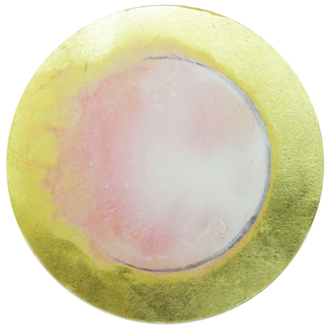 "Little Pink Moon, 2013, 7"" diameter, oil with 18k gold and copper on prepared aper, 19""x16"" overall."