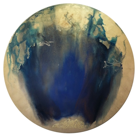 "The Watchman He Lay Dreaming, 2013, 48"" diameter, oil with moon gold and 23k gold on MDF panel."