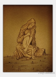 Sorrowful Mother, pyrography, Tony Cassisi