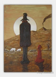 Herdsman at sunset, painting incorporating found materials, Tony Cassisi