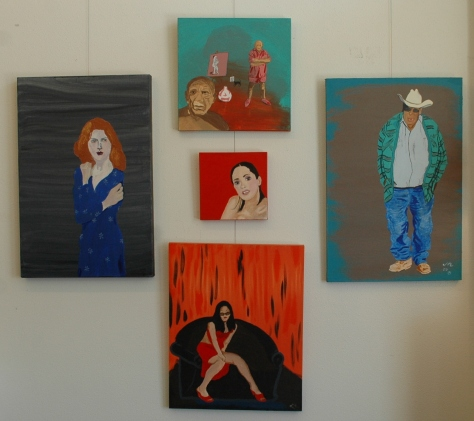 Wall of characters, paintings by J.R. Smith