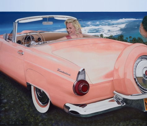 Marilyn & 1956 Thunderbird, by Chris Osborne