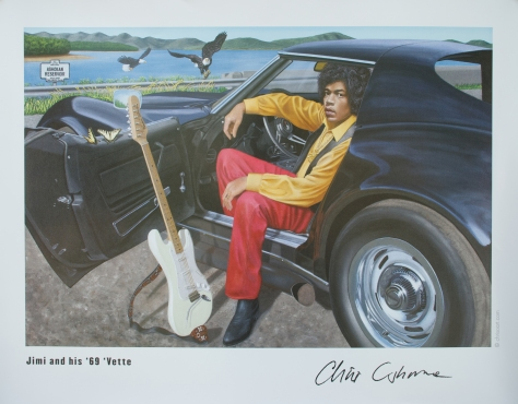 Jimi Hendrix + 1969 Corvette Stingray limited edition poster, from a painting by Chris Osborne, is the best selling item in the Transmedia Artist Amazon Pro Store