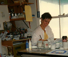 Vivian Falzetti at work in her California  studio.