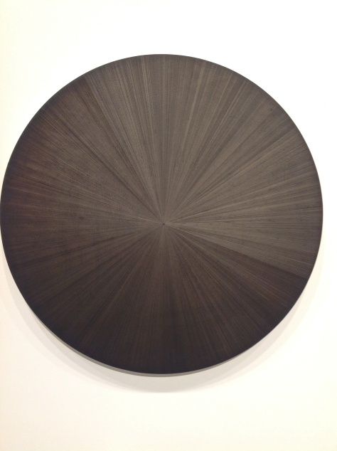 Michelle Grabner, silverpoint drawing on black canvas
