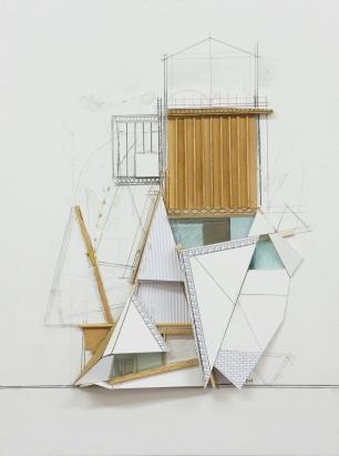 Dil Hildebrand, Model II – 2014, paper, wood and graphite on board, 51 x 38cm