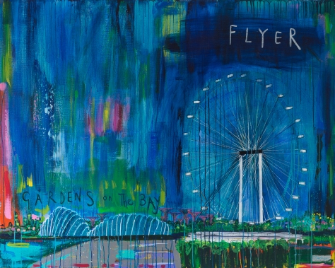 Singapore Flyer by The Gardens on The Bay, Clare Haxby, mixed media on Linen, 153 x 122 cm, $6,900 USD