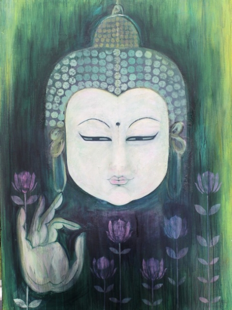 Emerald Mudra Buddha by Clare Haxby     Acrylic on Canvas 122 x 92     Sgd 7,000