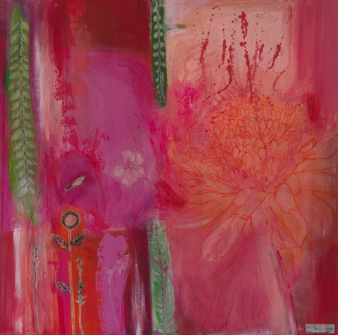 Tropical Ginger Lily by Clare Haby Mixed Media on Canvas 100 x 100 cm $3,950 USD