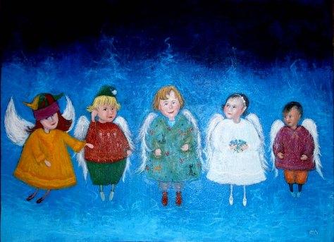 Children (We are from Heaven), Lela Tabliashvili, acrylic on canvas, 60 x 80 cm, $3000