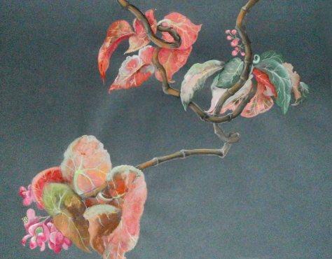 Begonia, artist Lela Tabliashvili, gouache, pastel, pencil, painting on fine art paper, $700
