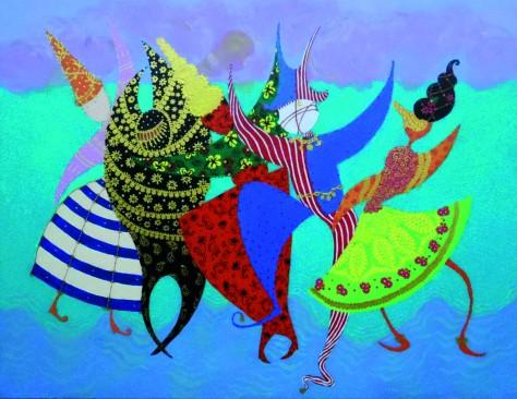 Carnaval, Lela Tabliashvili, acrylic on canvas, 70 x 90 cm, $3000