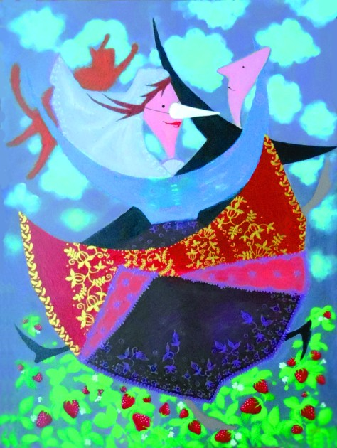 Dancing in The Strawberry Field, Lela Tabliashvili, Acrylic on canvas, 60 x 80 cm, $2500