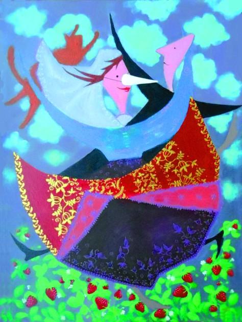 Dancing in The Strawberry Field, Lela Tabliashvili, Acrylic on canvas, 60 x 80 cm, $2500