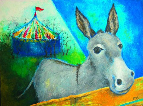Viruka (Donkey), Lela Tabliashvili, acrylic on canvas, 60 x 80 cm, $3000
