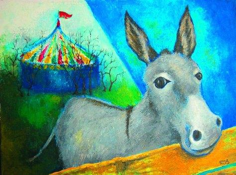 Viruka (Donkey), Lela Tabliashvili, acrylic on canvas, 60 x 80 cm, $3000