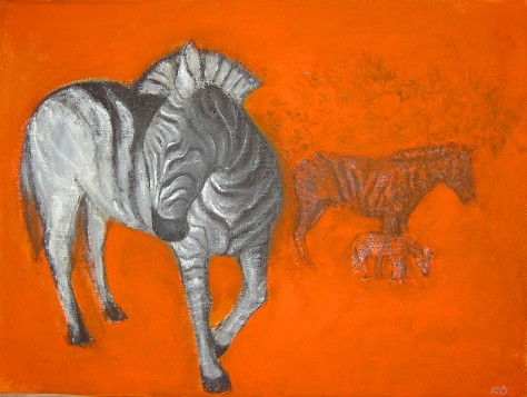 Zebras, Lela Tabliashvili, acrylic on canvas, 60 x 80 cm, $3000