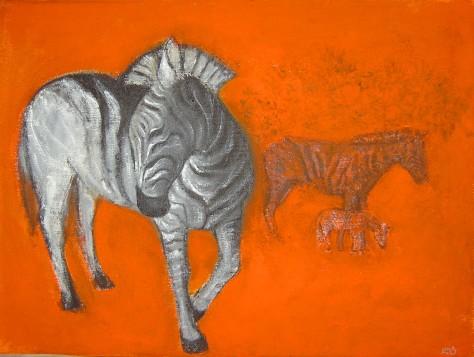 Zebras, Lela Tabliashvili, acrylic on canvas, 60 x 80 cm, $3000
