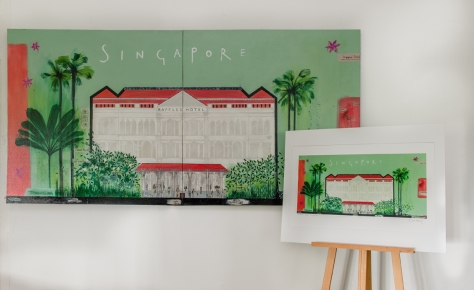 Raffles Hotel by Clare Haxby     Framed Artist Signed Giclee print on German Hahnemuhle 99 x 78 cm ( unframed)      Usd 370