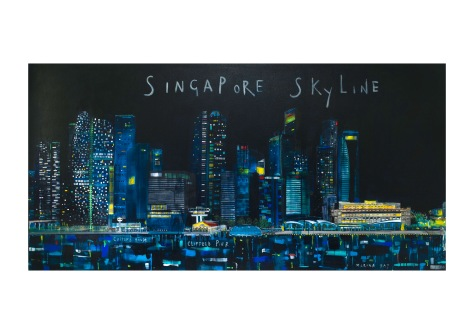 Singapore Skyline, Clare Haxby, Mixed Media on Linen 244 x 122 cm, $14,150. USD