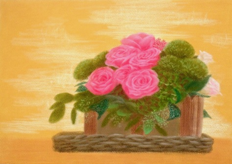 Flower basket (pastel & pastel paper) Dimension: 3270 x 2316 Artist name: Esther Lau Retail price: USD110