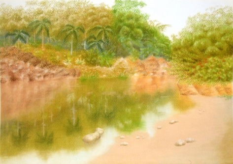 Country park view (Tsing Yi Garden), pastel on pastel paper, Dimension: 3250 x 2292 Artist name: Esther Lau Retail price: USD110