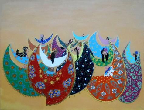 Gypsy Dance, Lela Tabliashvili, acrylic on canvas, 80 x 100 cm,  $3500