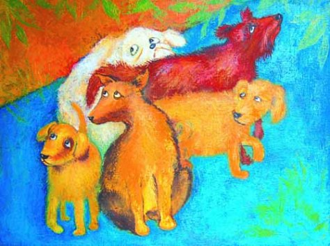 Street Dogs, Lela Tabliashvili, acrylic on canvas, $2000