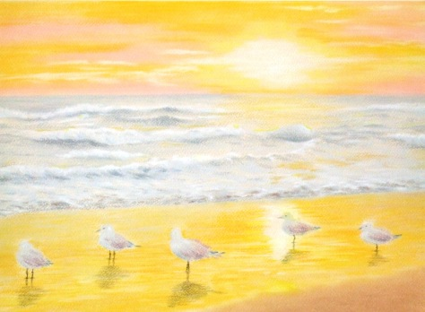 Title: Sunset in the beach (pastel & pastel paper) Dimension: 3296 x2425 Artist name: Esther Lau Retail price: USD130