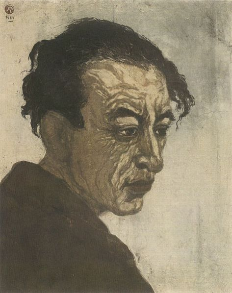 'Portrait of Hagiwara Sakutarô', woodblock print by Onchi Kôshirô, 1943, 1st edition, National Museum of Modern Art, Tokyo