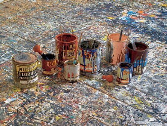 Jacks Pollock's studio floor in the Pollock Krasner house.