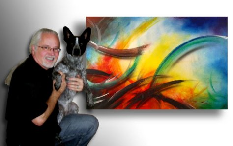 Randy Marmet with his muse Harley in front of painting WellSpring of Life