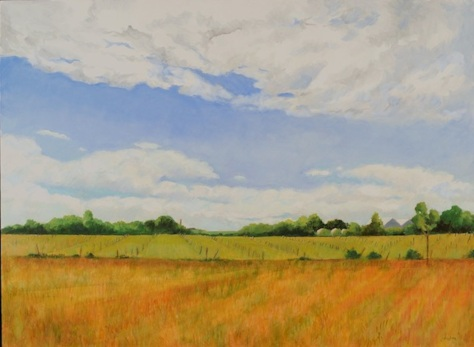 Farmlands, Lynne Friedman, oil painting on canvas 36 x 48 inches, Inspired by the farm land on Long Island near the Parrish Art Museum shipped flat unframed