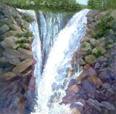 Great Waterfalls, Lynne Friedman,  image size 30 x 30 inches  with a border Limited edition Giclee print on archival paper and inks Signed 1/50 Inspired by the wonderful rushing waters of a waterfalls near Lake Tahoe in Spring Ships Rolled in a tube