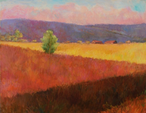 Artist: Lynne Friedman Ulster Summer 30x40 oil on canvas original Painted in New York State's Hudson Valley and inspired by the large agricultural fields and panoramic fields shipped flat unframed