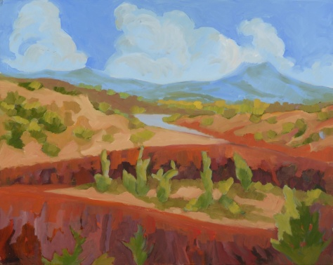The Pedernal - New Mexico, Lynne Friedman,16x20 oil painting on panel, unframed Painted outdoors at Ghost Ranch, (Georgia O'Keefe country), New Mexico