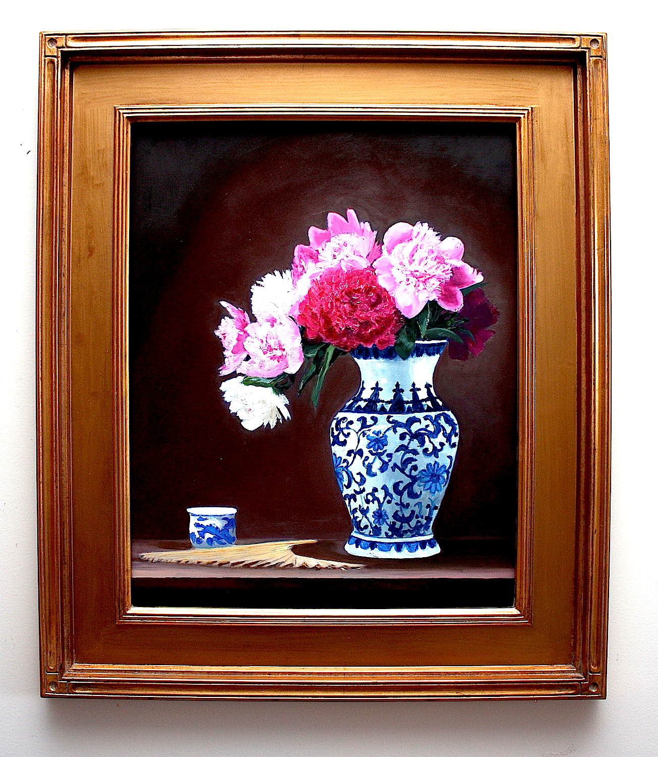 Peonies, Teacup, Fan & Chinese Vase, oil painting by Gray Jacobik